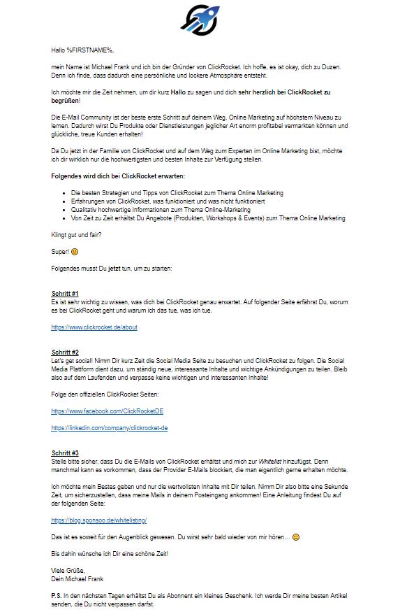 E-Mail Marketing Willkommenskampagne