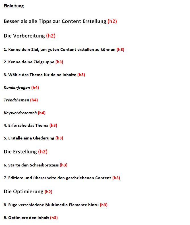 Richtige Struktur und Gliederung für die Content Erstellung