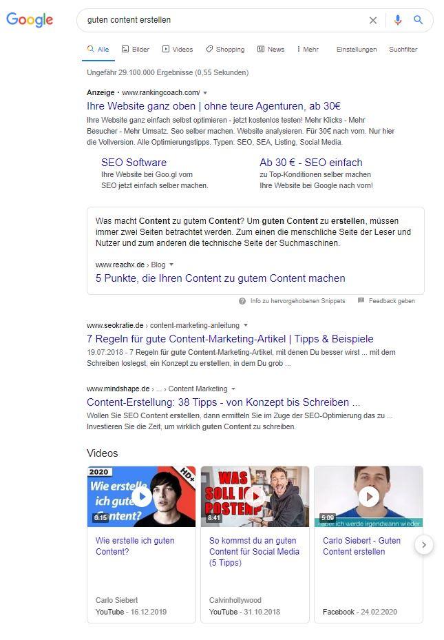 Google Recherche, um guten Content zu erstellen
