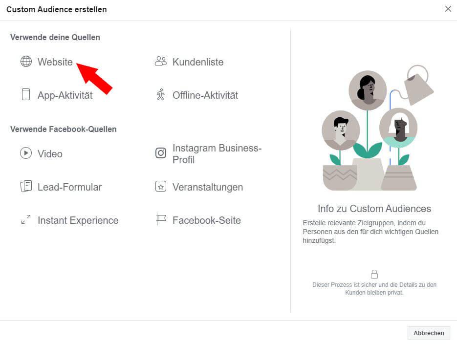 Facebook Custom Audience Schritt 3