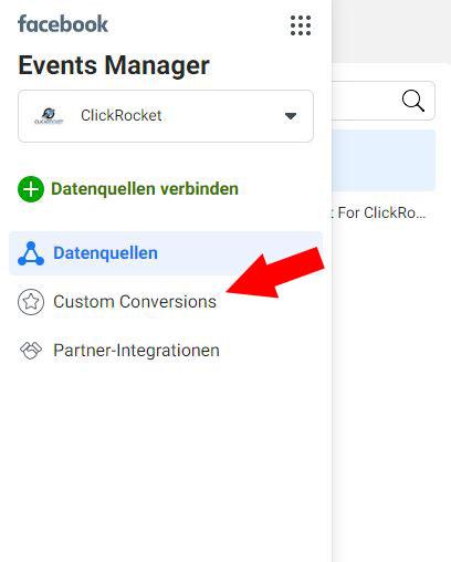 Facebook Custom Conversion Schritt 2.1