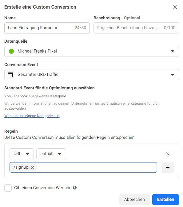 Facebook Custom Conversion Schritt 3.0