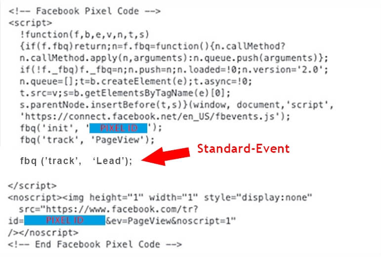 Facebook Custom Conversion Standard Event