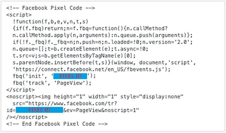 Facebook Pixel Code zum Einrichten