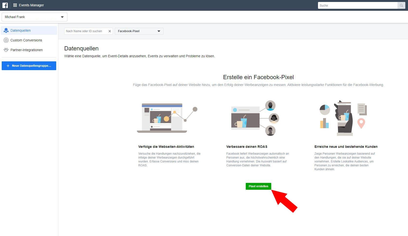 Facebook Pixel erstellen Schritt 3