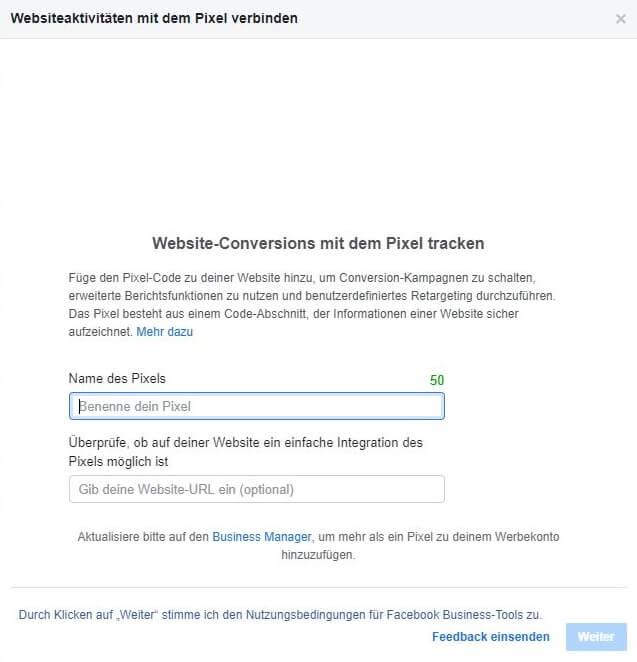 Facebook Pixel erstellen Schritt 4