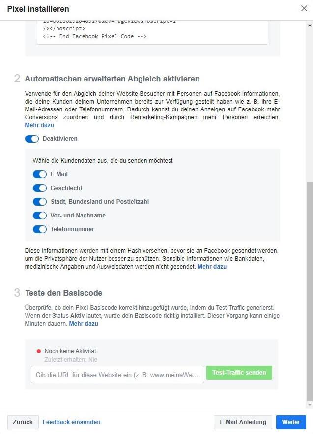 Facebook Pixel erstellen Schritt 6.2