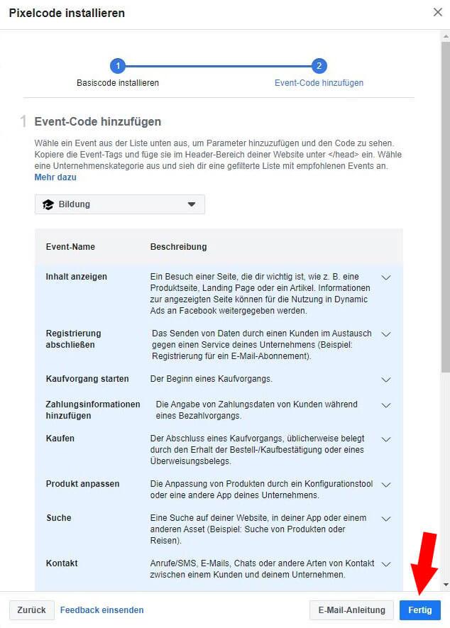 Facebook Pixel erstellen Schritt 8