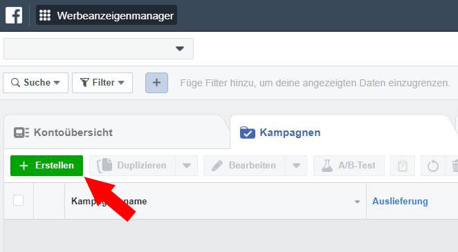 Retargeting Facebook einrichten Schritt 2
