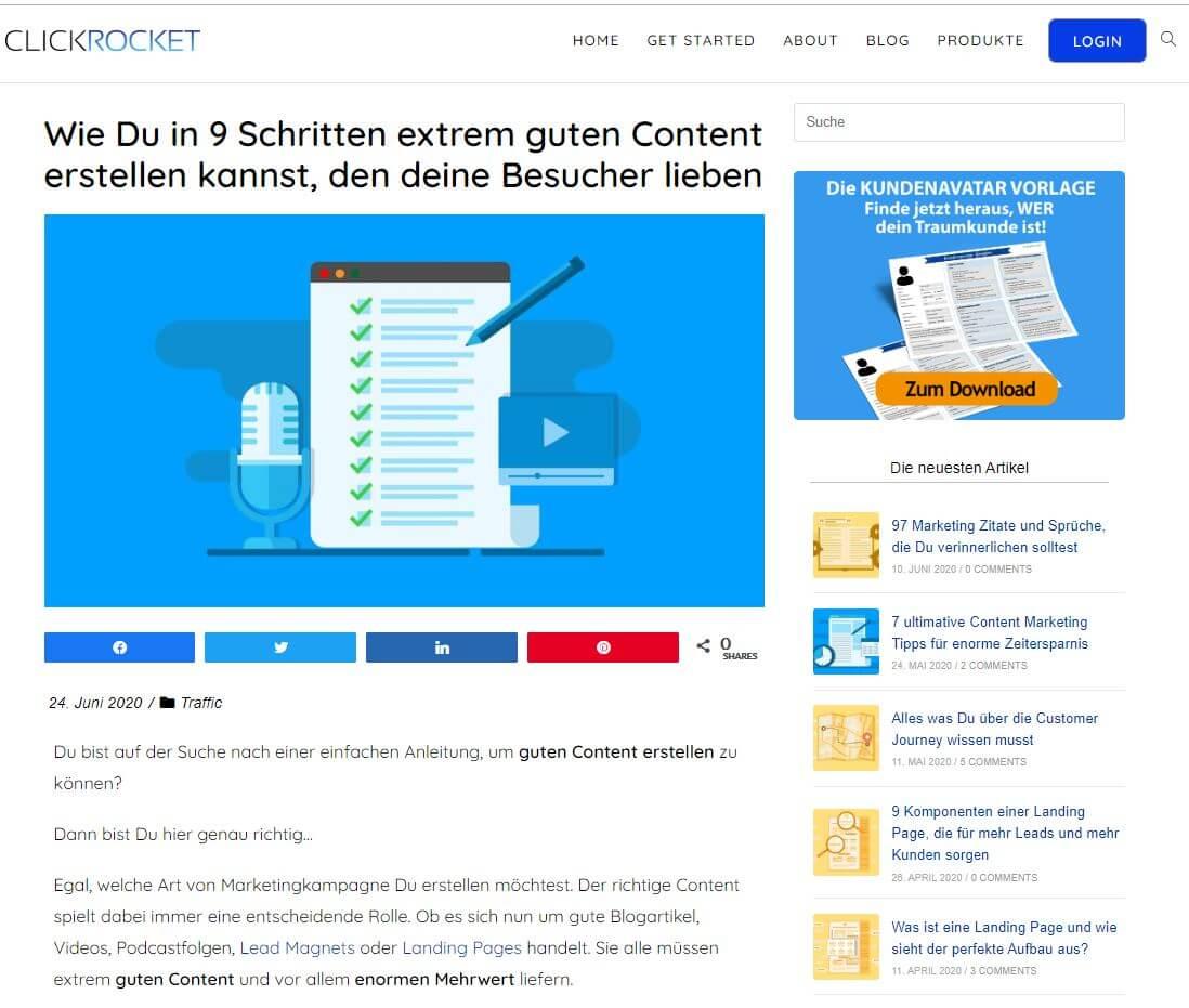 Content Medium Text für einen Content Plan