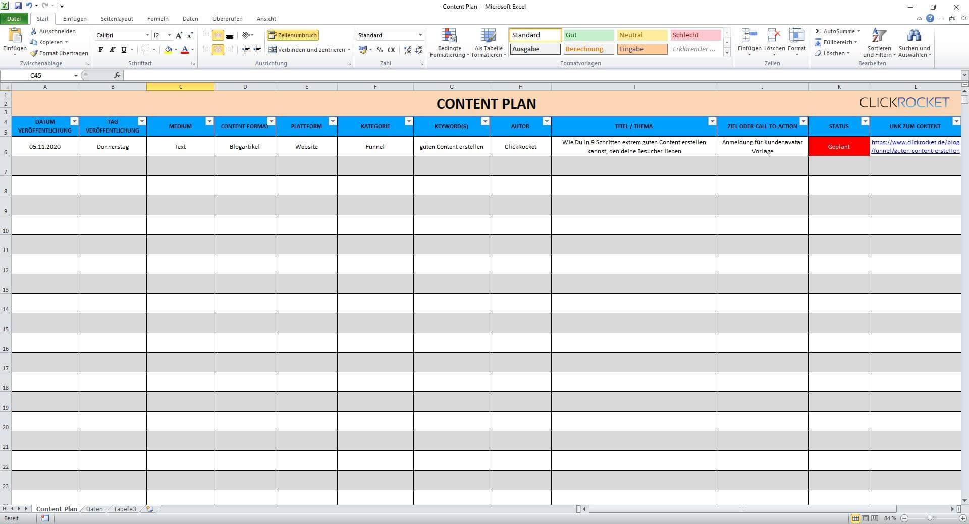 Kostenlose Content Plan Vorlage ClickRocket