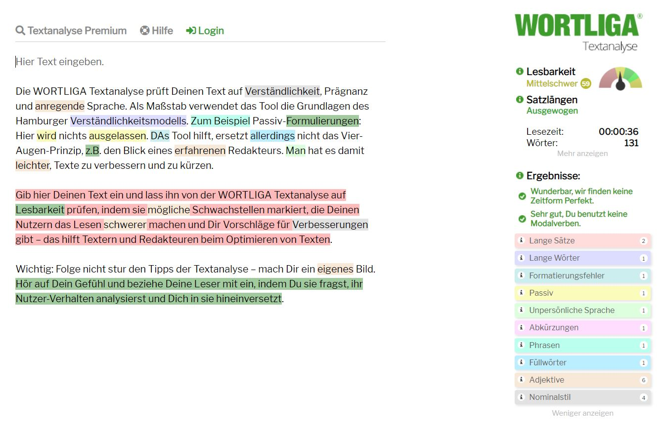 Content Marketing Tool 4 Wortliga Textanalyse