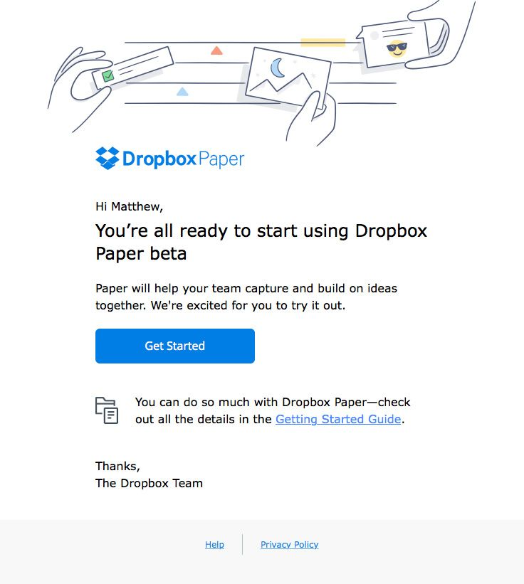 Dropbox E-Mail Call-To-Action