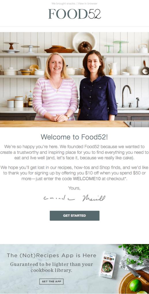 Willkommensmail Beispiel Food52